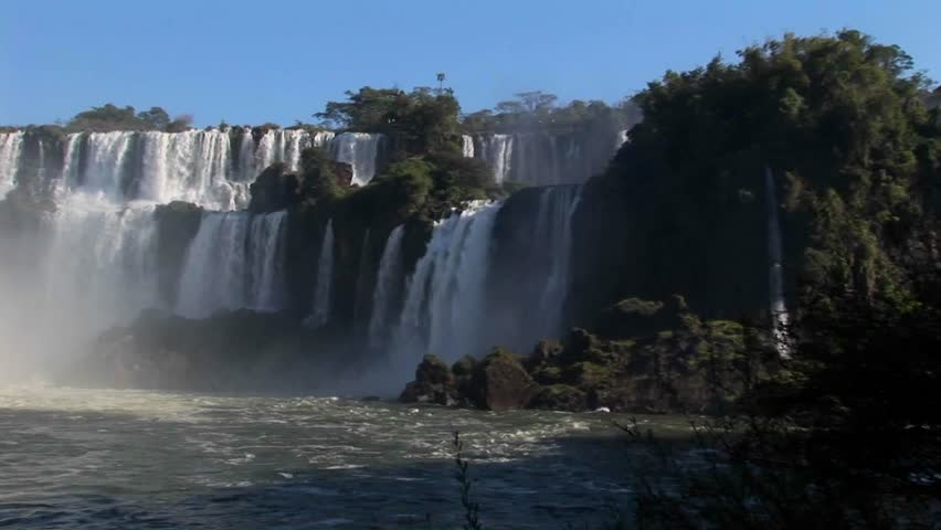 A slow pan across beautiful Iguacu Falls.