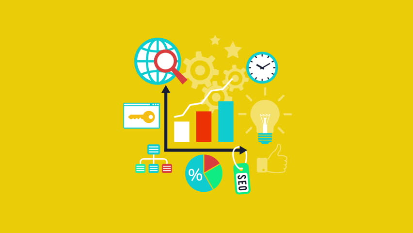 Web analytics. SEO optimization, internet marketing, target strategy, keyword research analysis concept. Video animation, Full HD 1920x1080