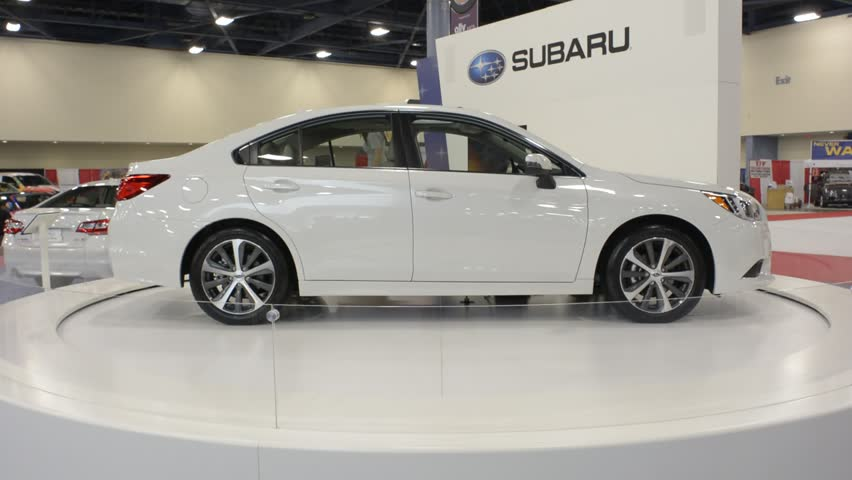 MIAMI BEACH, FL, USA - NOVEMBER 6, 2015: Subaru Legacy on display during the 2015 Miami International Auto Show at the Miami Beach Convention Center in downtown Miami Beach.