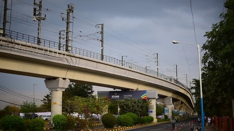 Editorial: Gurgaon, Delhi, India: March 06th 2015: Metro train in motion, Over 1 million passengers use the metro daily