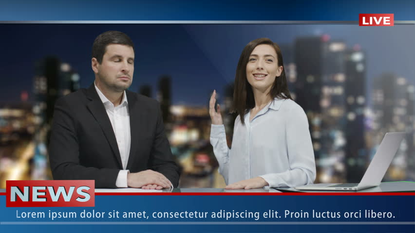 Two Media broadcasters is sitting in Studio and Talking. News show Mock-up.  | Shutterstock HD Video #15017356