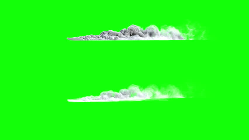 4k side view of dust or smoke trail behind car (uhd 3840x2160, ultra high definition, 1920x1080, 1080p) two different densities, soft and very dense, isolated on greenscreen background, with alpha