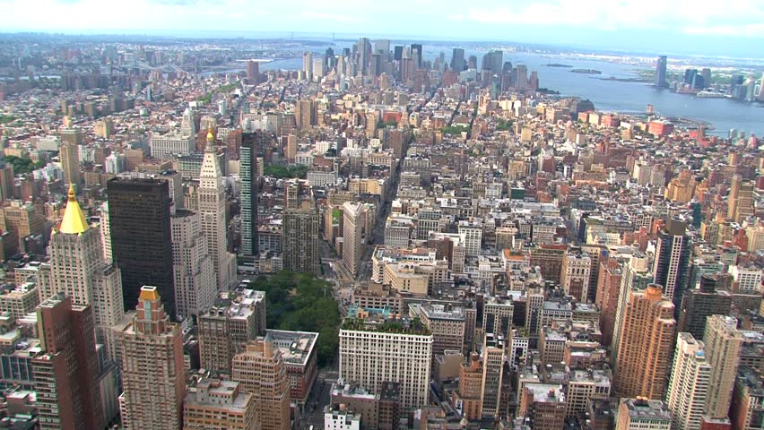 NEW YORK - CIRCA OCTOBER 2010: Aerial view of the New York City skyline circa October 2010 in New York, NY. | Shutterstock HD Video #1505321