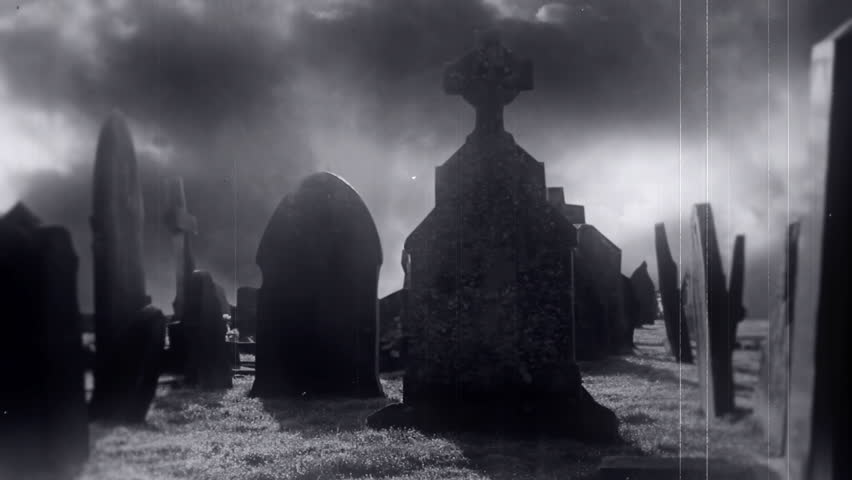 Old Spooky Graveyard With Ghost And Time-lapse Clouds | Shutterstock HD Video #15058741