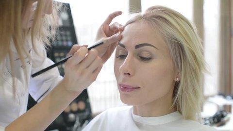 Specialist Doing Makeup For Model Video De Stock Totalmente Libre