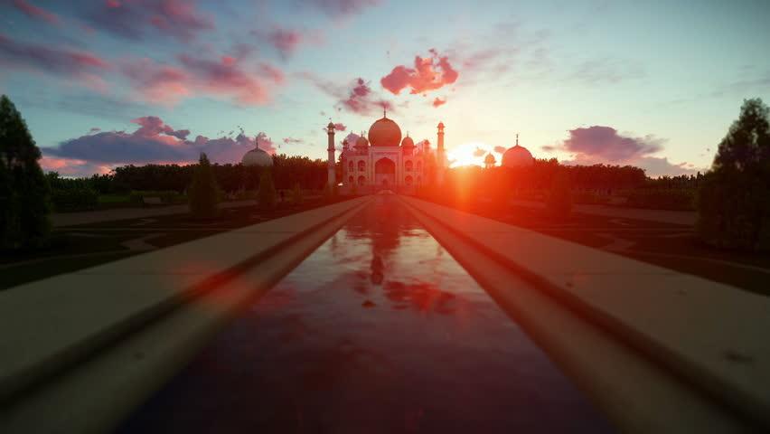 Taj Mahal beautiful sunrise, camera fly | Shutterstock HD Video #15067846