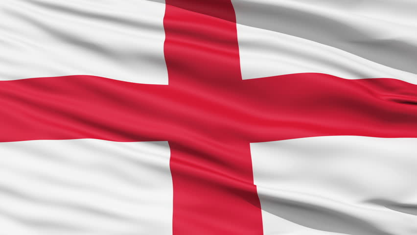 The waving Flag of England with the St George Cross emblem,seamless looping