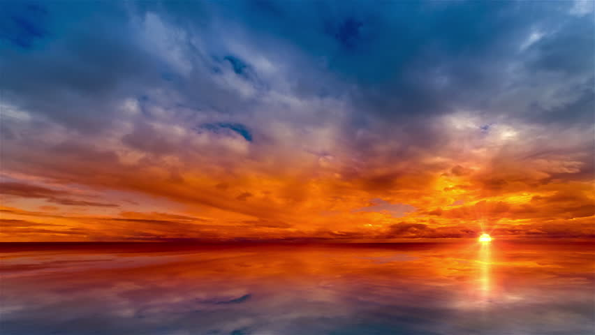Beautiful cloudscape and sunset breaking through cloud over lake reflection. god rays, also called crepuscular rays, streaming through gaps in clouds. Time lapse 4K - 4K stock video clip