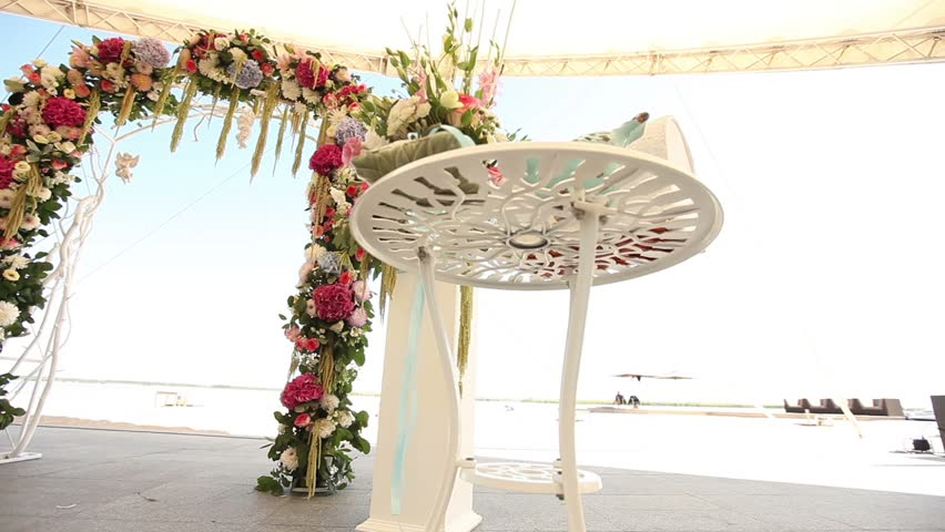 Wedding flower arch decoration wedding arch decorated with flowers wedding flower arch decoration wedding arch decorated with flowers on the beach wedding interior ceremony wedding arch flower arch outside stock junglespirit Image collections