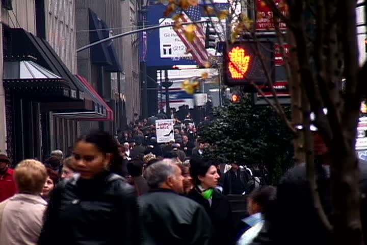 Shot of people walking in New York City