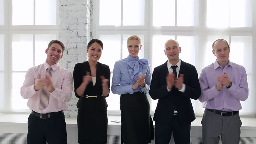 Business team welcomes new employee/Welcome to Our Business Team   Shutterstock HD Video #15134761
