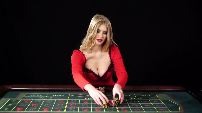 Girl puts bets in the casino club and lose everything, black, slow motion
