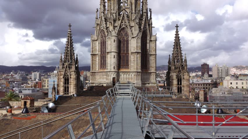 Stock Video Of Barcelona Cathedral Facade Tower Back Side