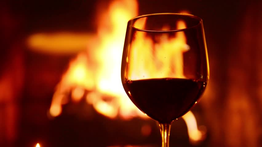 Red Wine Glass In Front Of Fireplace Stock Footage Video 8407576 ...