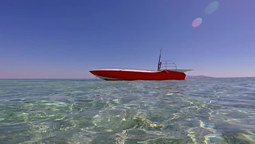 Boat bobbing in the waves in  sea in windy and sunny day | Shutterstock HD Video #15148651