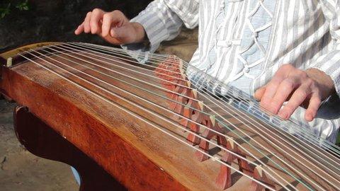 Man is playing the Guzheng-chineese harp