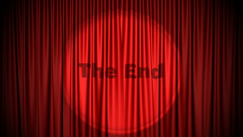 Captivating Red Cinema Style Curtains Close With The End Projected By Light Appearing.  Green Screen For