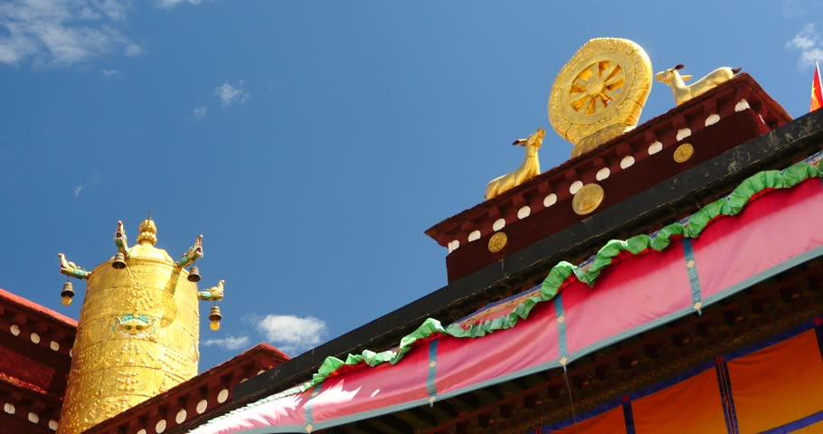 4k closeup of The Jokhang Temple In Lhasa,Tibet,white clouds in blue sky. gh2_09659_4k