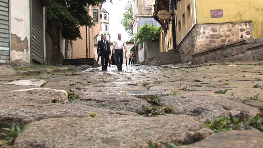 BULGARIA - CIRCA 2010: People walking downtown circa 2010 in Plovdiv, Bulgaria