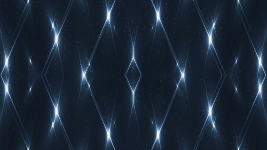 VJ Fractal blue kaleidoscopic background. Background motion with fractal design on black background. Disco spectrum lights concert spot bulb. Light Tunnel. Seamless loop.