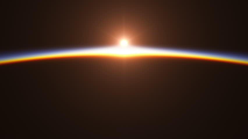 Realistic Sunrise Over The Earth. 3D Animation. Ultra High Definition. 4K.