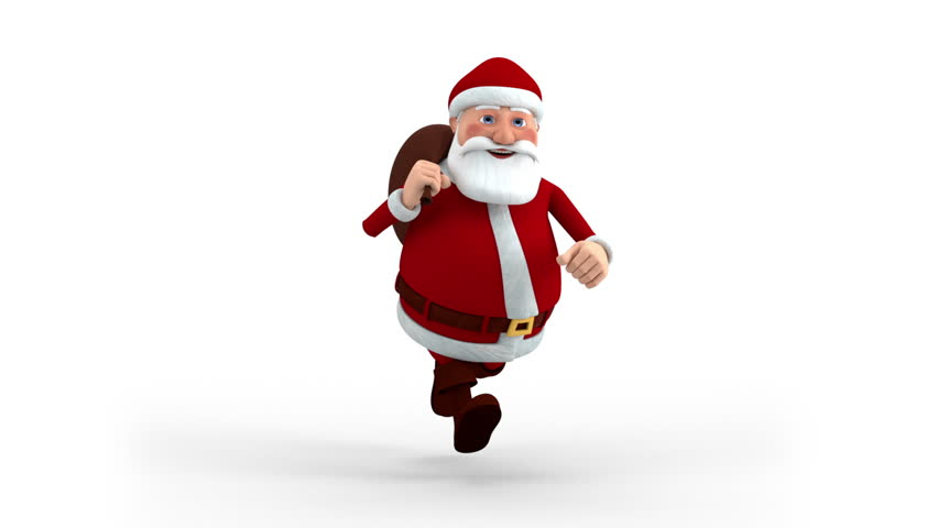 Cartoon Santa Claus with gift bag running on spot - front view - high quality 3d animation