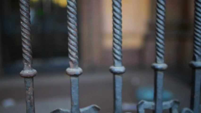 """Metal fence on Poste Italy, """"Vaglya Risparmi Conti Correnti,"""" Kordusio Piazza, Milan, Italy. #15248422"""
