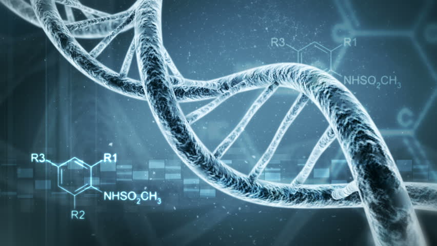 Rotating DNA with formula background. Genetic engineering scientific concept | Shutterstock HD Video #1525781