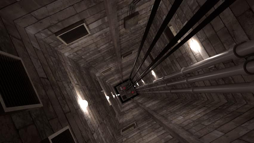 Elevator shaft lift shaft bunker vault safe nuclear machinery 4k
