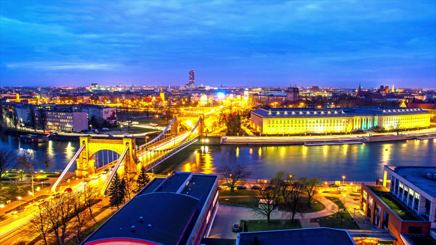 Time Lapse - Wroclaw, Poland, Wroclaw, city skyline, provincial office, Breslau, architecture and buildings, 2016, Wroclove, Grunwald bridge, European capital of culture 2016. | Shutterstock HD Video #15402499