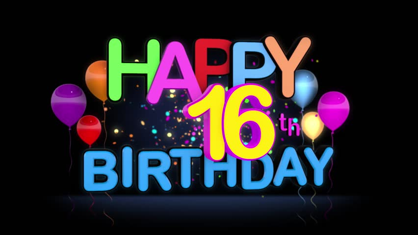 happy 16th birthday images Happy 16th Birthday Title Seamless Stockowy materiał wideo (100  happy 16th birthday images