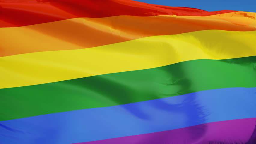 The gay pride rainbow flag waving in slow motion against clean blue sky, seamlessly looped, close up, isolated on alpha channel with black and white luminance matte, perfect for film, news | Shutterstock HD Video #15436423