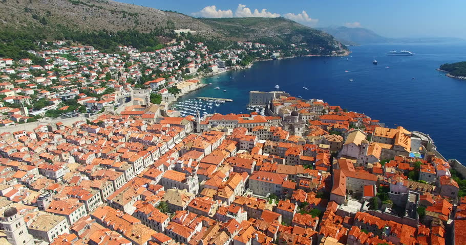 Aerial view of the Old Town of Dubrovnik and beautiful Adriatic sea
