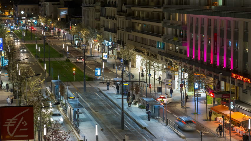 Angers, France - February 20th 2016 - Boulevard Foch Night Timelapse