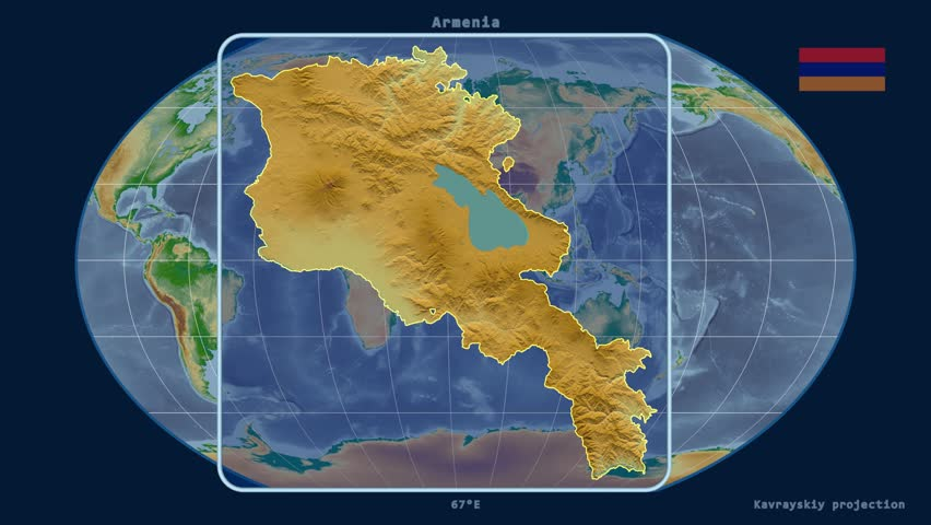 Zoomedin View Of A Armenia Outline With Perspective Lines Against A