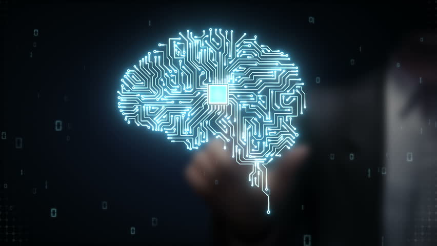 Businessman touching Brain CPU chip, grow artificial intelligence