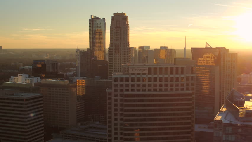 Atlanta Aerial v192 Flying low over Buckhead downtown panning with cityscape sunset views.