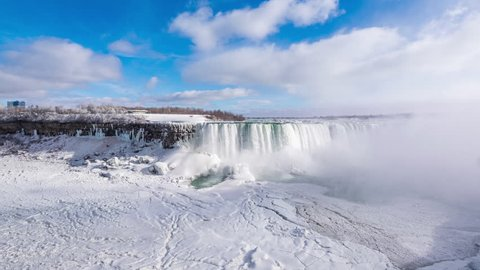 NIAGRA FALLS - 27 JAN: Zoom in timelapse view over Niagara Falls on the border between Canada and the USA viewed from the Canadian side in Winter on 27 January 2015 in Niagara Falls, Canada