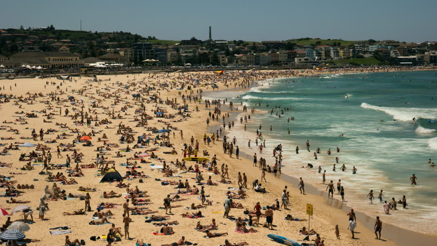 wide angle time lapse of bondi beach, australia's most famous beach