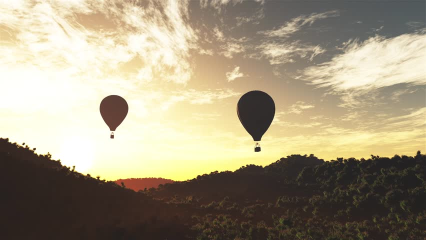 4K Hot Air Balloons over Lush Natural Wilderness Jungle in the Sunset Sunrise Cinema 4K 4096x2304 ultra high definition 3D Animation #15585871