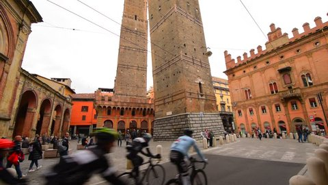 BOLOGNA, ITALY - 30 MARTH 2016: Square Piazza di Porta Ravegnana in Bologna and  two Tower Torri Garisenda and Torri Asinelli