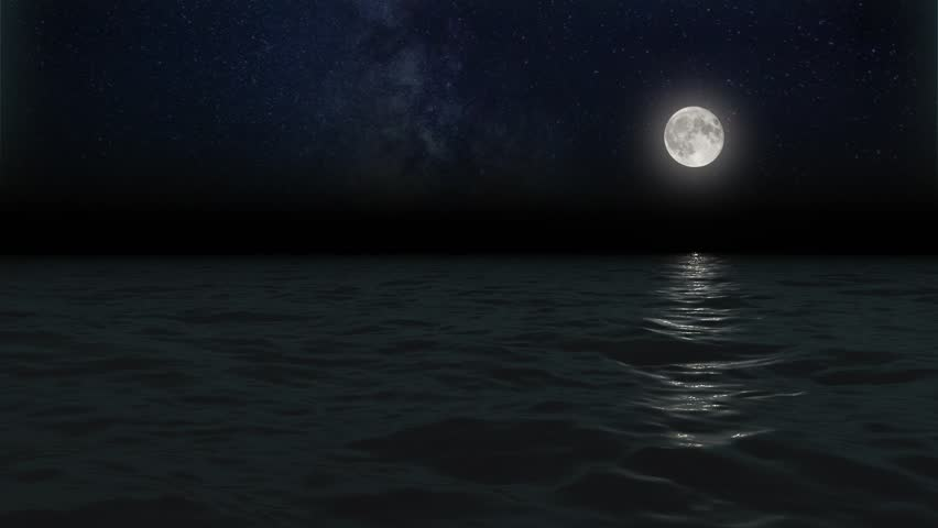 CALM SEA, FULL MOON AND STARS NIGHT. Animated 3D, 30 second loop,