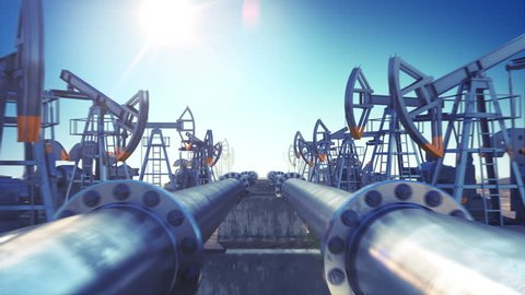 Oil Pumps and Oil Pipeline in endless motion. Looped 3d animation. Blue Sky and Sun Shining. HD 1080. Industrial Business Concept.