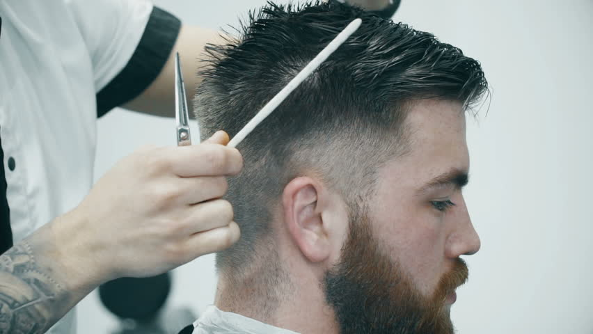 Hairdresser Cutting Hair In Barbershop Stock Footage Video 100