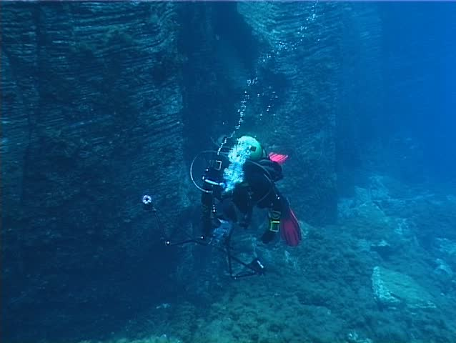 Underwater photographer diver. Shot captured in the Mediterranean Sea (Italy) by 3CCD camcorder - PAL system.  #156931