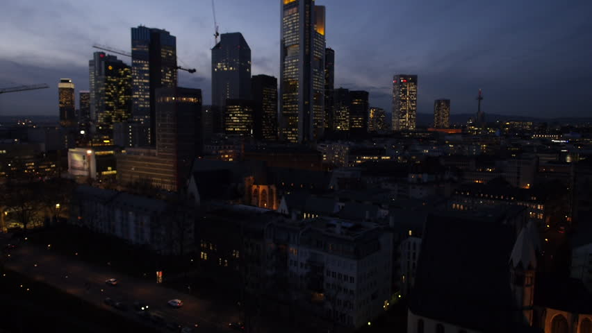 Aerial Drone Night Shot Frankfurt