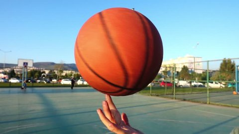 Basketball Spinning on Finger in Open Area