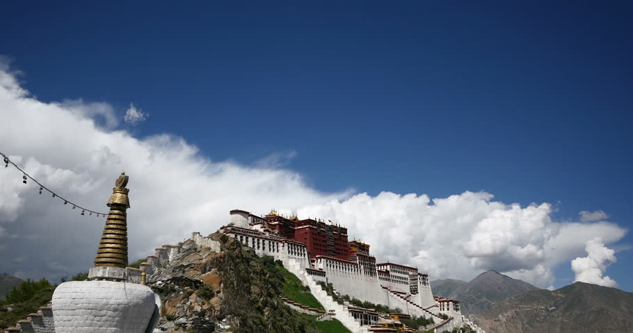 4k Potala in Lhasa,Tibet,time lapse of white puffy cloud mass in the blue sky. gh2_08940_4k
