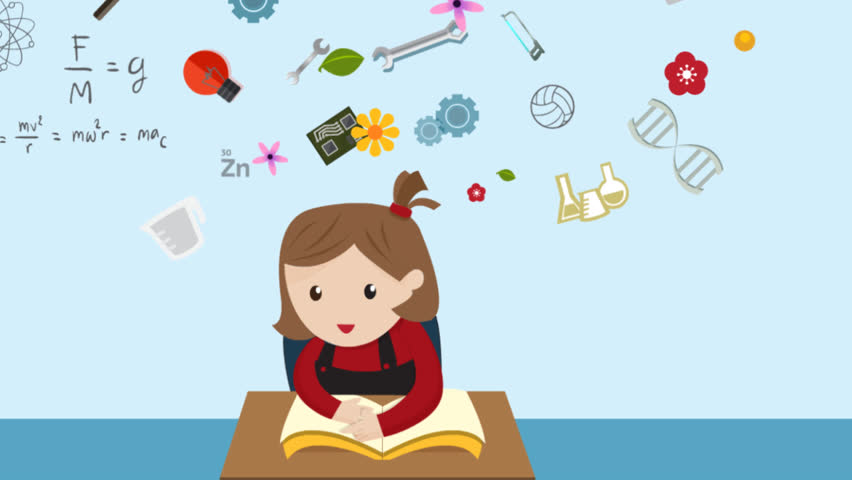 cartoon animation of a girl student is reading education book on her desk in class with science maths chemistry engineering physics art and creative - Cartoon Picture Of A Child