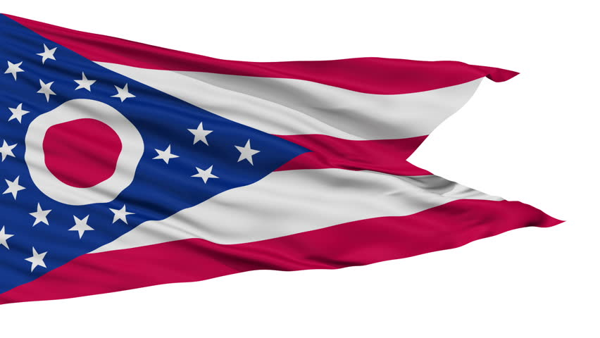 Ohio Flag Isolated Realistic Animation Seamless Loop - 10 Seconds Long